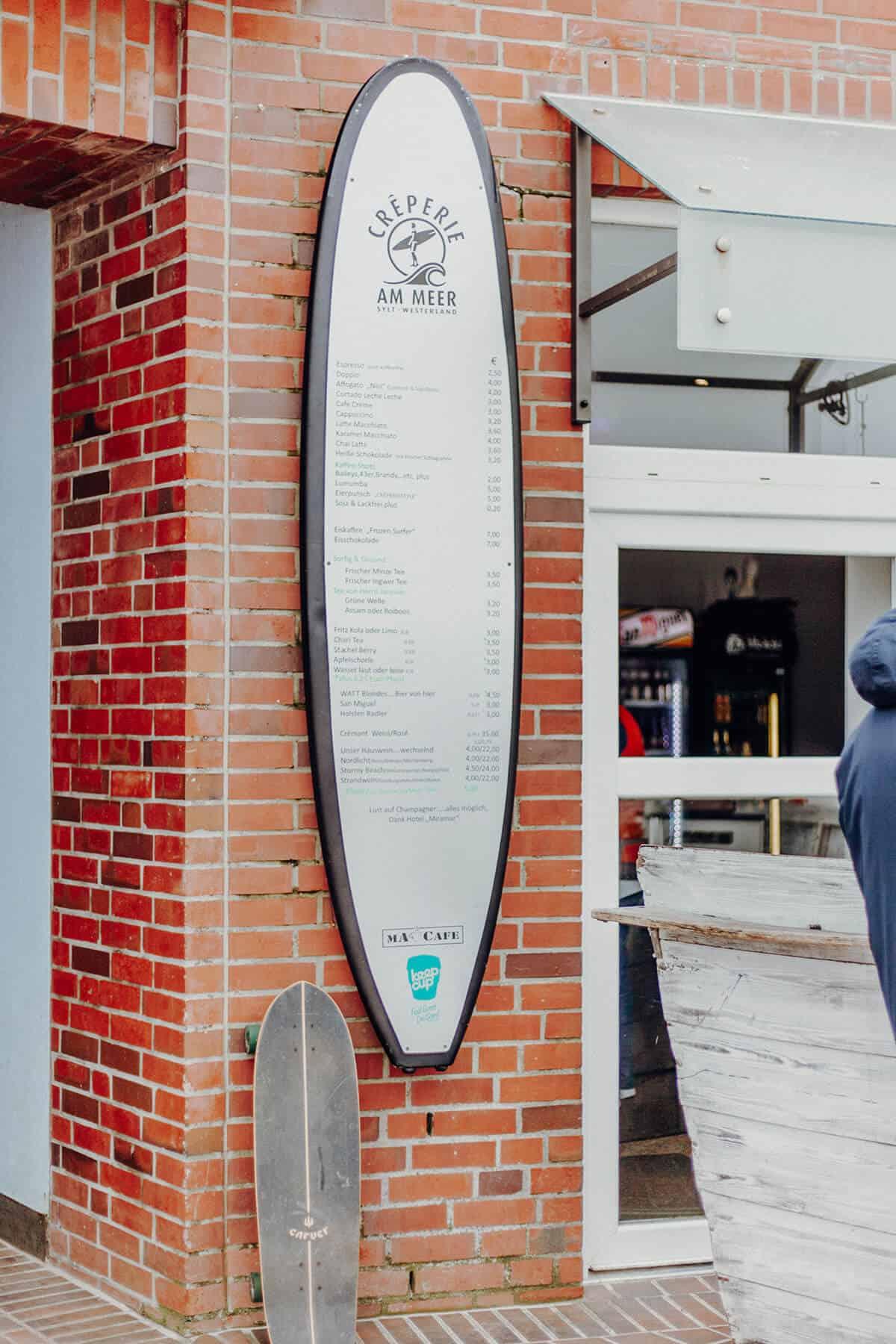 Crêperie am Meer Westerland Karte als Surfbrett