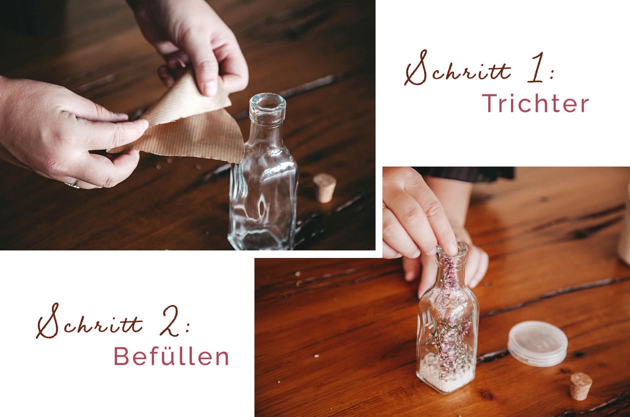 Flasche, Schritt 1 und 2
