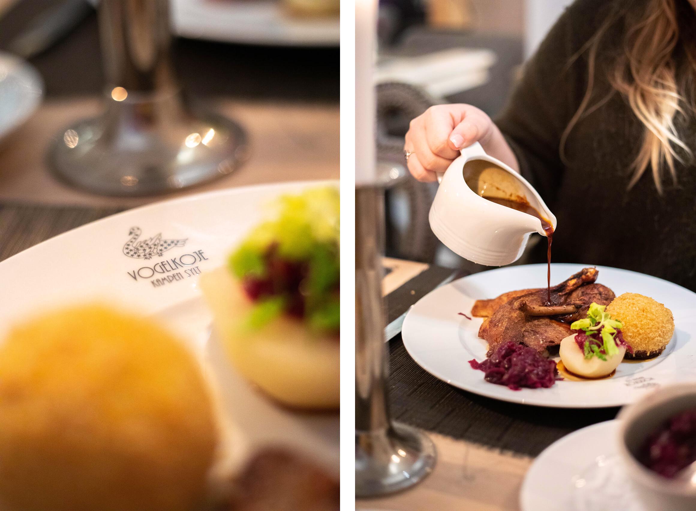 Restaurant Vogelkoje: Regionale Küche Vogelkojenente mit Kirschrotkohl und Kartoffelkloß