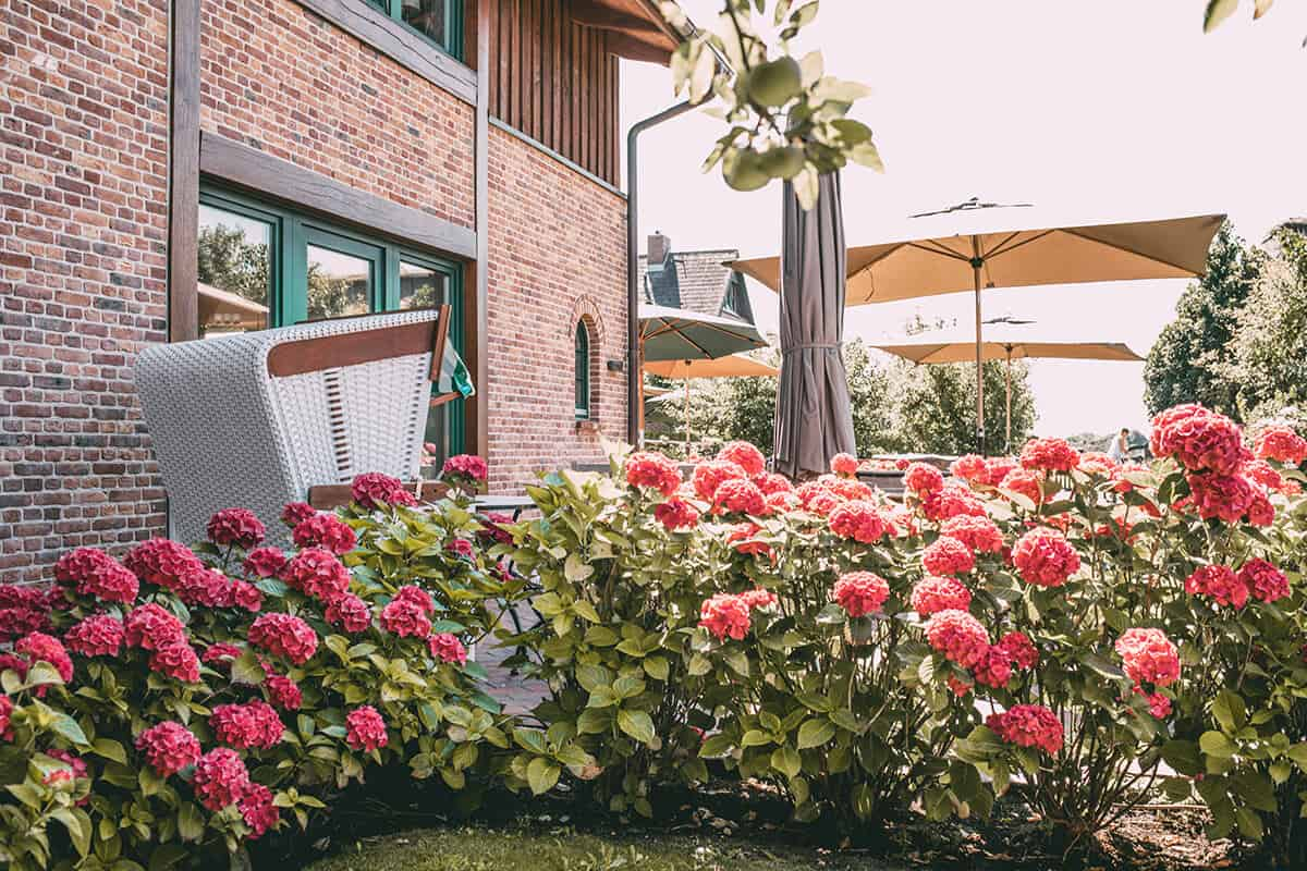 Hofcafé Klein'er Kuhstall in Tinnum: Terrasse und Garten
